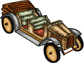 Wooden Car machine embroidery design