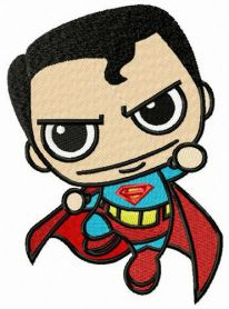 Chibi superman attacks machine embroidery design