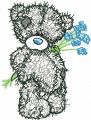 Teddy Bear with blue flowers applique embroidery design