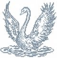 Blue swan cross stitch free embroidery design