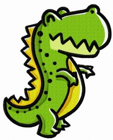 Smiling tyrannosaurus machine embroidery design