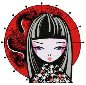 Japanese  girl 3 machine embroidery design