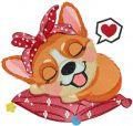Sleeping dreaming corgi embroidery design