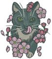 Cat licking nose embroidery design