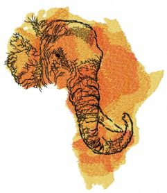 African elephant map machine embroidery design