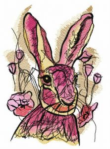 Rabbit among tulips