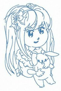 Long haired girl with bunny