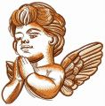 Adorable praying angel embroidery design