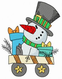 Cart with snowman machine embroidery design