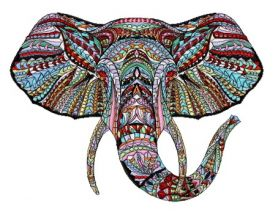 Mosaic elephant machine embroidery design