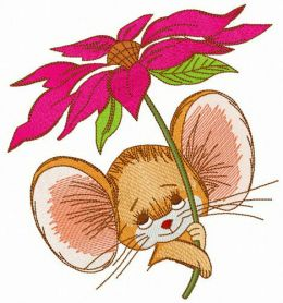 Mousekin with pyrethrum machine embroidery design