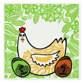 Easter hen machine embroidery design