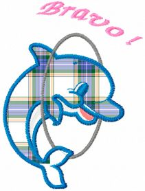 Dolphin free applique embroidery design