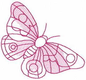 Pink small butterfly free embroidery design