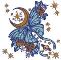Space butterfly embroidery design