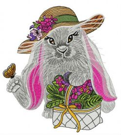 Lady bunny machine embroidery design