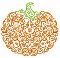 Swirl ornament pumpkin embroidery design