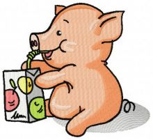 Little Piglet with apple juice