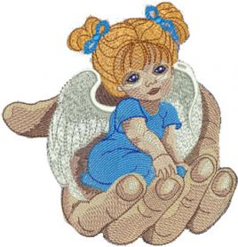 Angel in the palm machine embroidery design