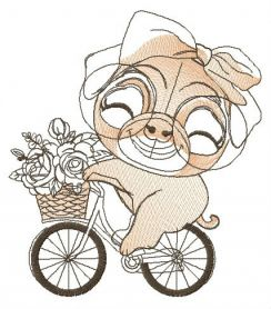Pug-dog cycling machine embroidery design