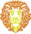 Lion tribal embroidery design