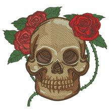 Skull with prickly rose