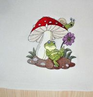 Embroidered funny frog under mushroom design