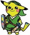 Pikachu warrior embroidery design