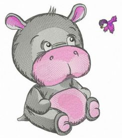 Kind baby hippo machine embroidery design
