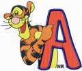 Tigger letter A free machine embroidery design