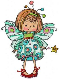 Dreaming fairy embroidery design