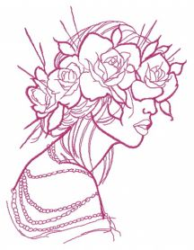 Rose wreath one color machine embroidery design