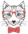 Cat in glasses embroidery design