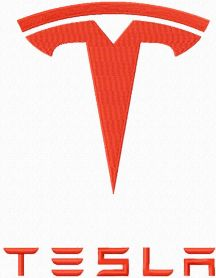 Tesla auto logo machine embroidery design