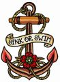 Sink or swim embroidery design