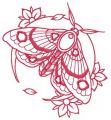 Pink moth and flowers embroidery design