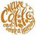 Wake up coffee embroidery design