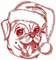 My funny pug-dog embroidery design