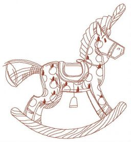 Wooden rocking horse machine embroidery design