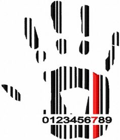Barcode hand free machine embroidery design