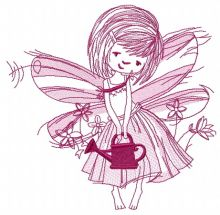 Fairy with watering can sketch