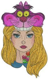 Alice with Cheshire cat hat machine embroidery design