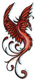Proud firebird machine embroidery design