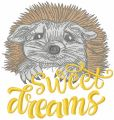 Hedgehog sweet dreams embroidery design