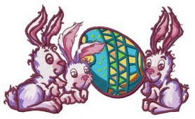 Easter bunnies machine embroidery design