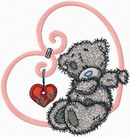 Teddy Bear my love machine embroidery design