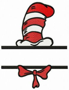 Cat's striped hat and bow tie