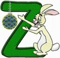 Rabbit letter Z embroidery design