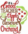 If a good teacher gets an apple embroidery design