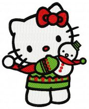 Christmas Kitty with snowman toy